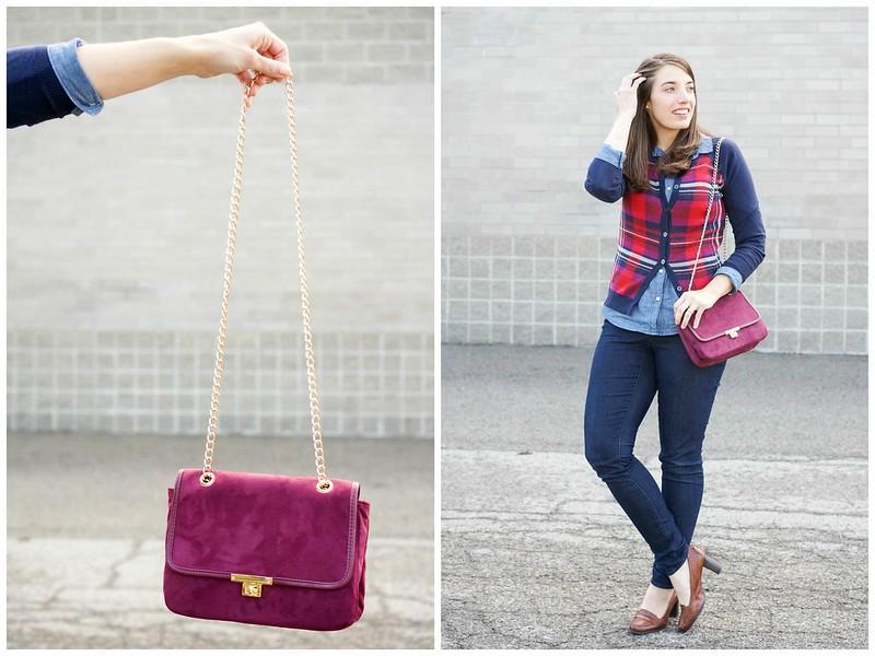 Target plaid cardigan + Express purse + Old Navy chambray
