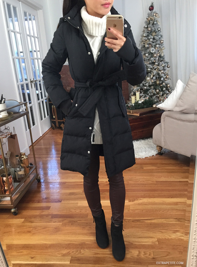 jcrew factory petite down coat review