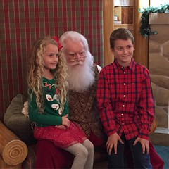 "I have loved their ages so much lately, but it's a bit sad this time of year! They're becoming little skeptics! ""The real Santa wouldn't have to ask me my name.""-Brooklyn.... And pretty sure Brett doesn't believe a lick of it anymore! :pensive: oh well, s"