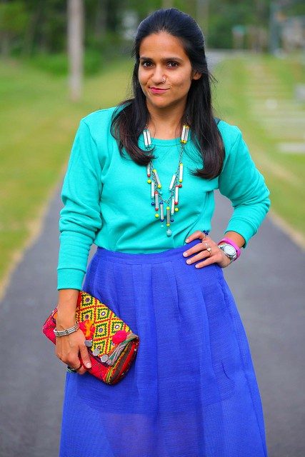 Sweatshirt - c/o Hanes  Skirt - Piperlime  Shoes - Rocketdog  Necklace - From India  Bag - From India Tanvii.com