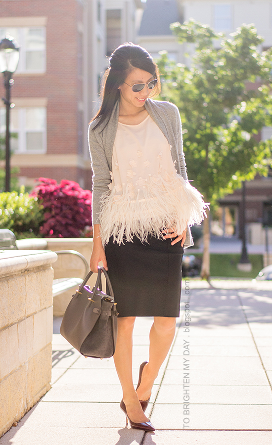 gray sweater, feathered top, black pencil skirt, burgundy pumps