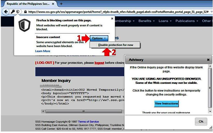 Access SSS online Inquiry using Mozilla Firefox2