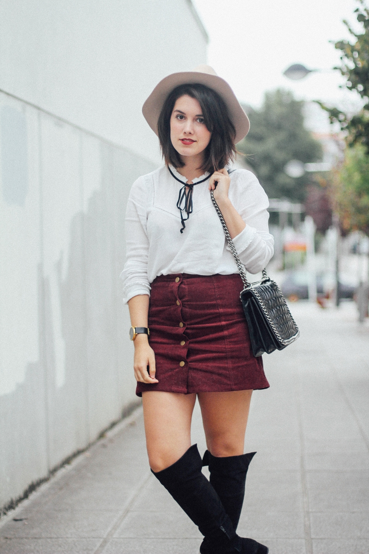 falda roja botones otoño 2015 streetstyle myblueberrynightsblog