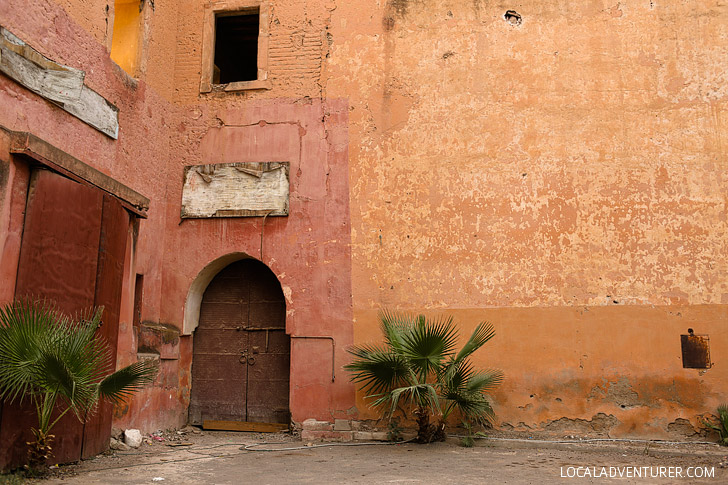Outside the Bahia Palace Marrakech Morocco.