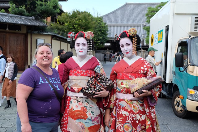 Claire with some ladies who wanted to dress up as Geishas
