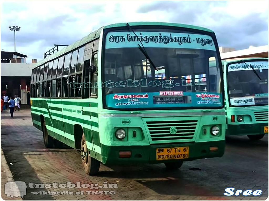TN-67N-0780 of Srivilliputtur Depot Route Rajapalyam - Pattukkottai via Srivilliputtur, Madurai, Karaikudi, Aranthangi.