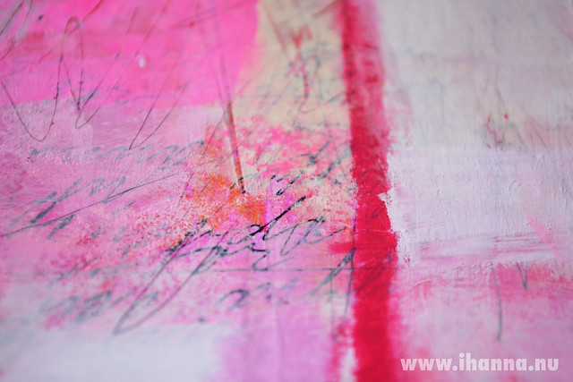 Detail 2 of Collage Painting in pink by iHanna