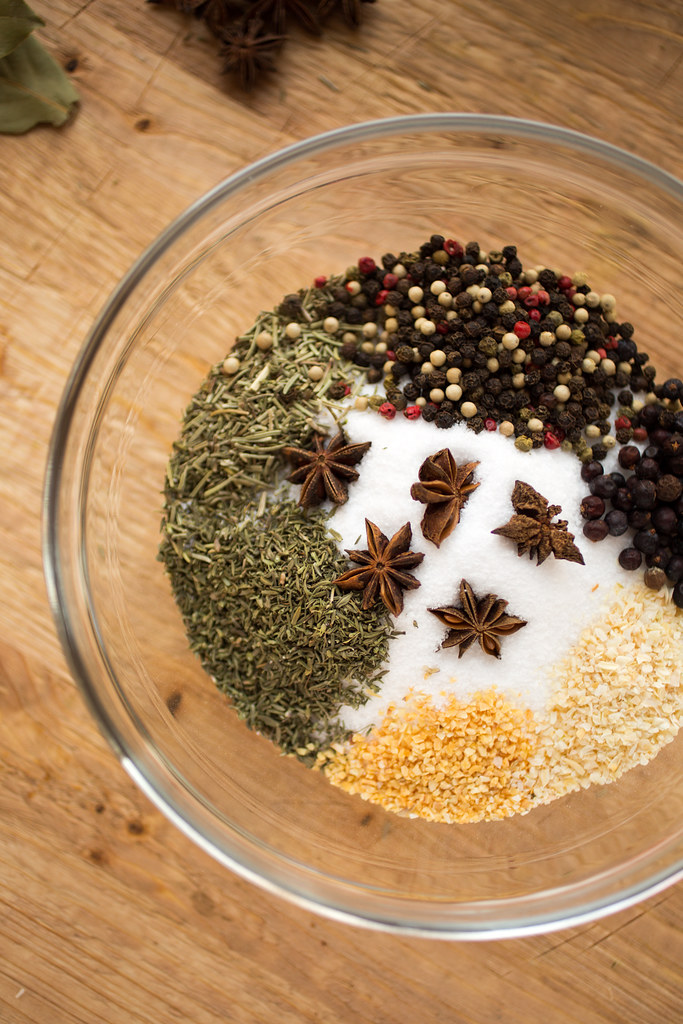 salt, herbs, and spices for brine in bowl