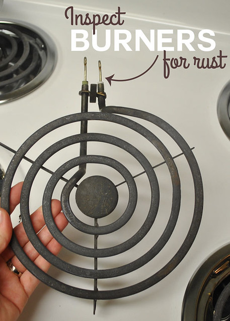 Inspect burners for rust