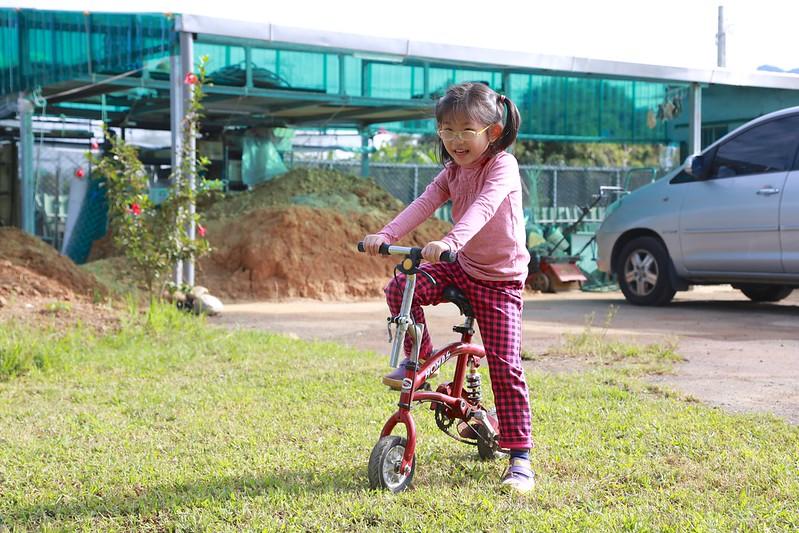 營主拿小腳踏車給寶妹玩