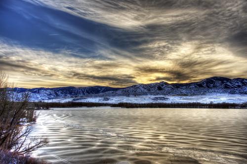 winter sky sun foothills mountain lake snow cold ice nature clouds landscape frozen colorado denver chatfield littleton 201512