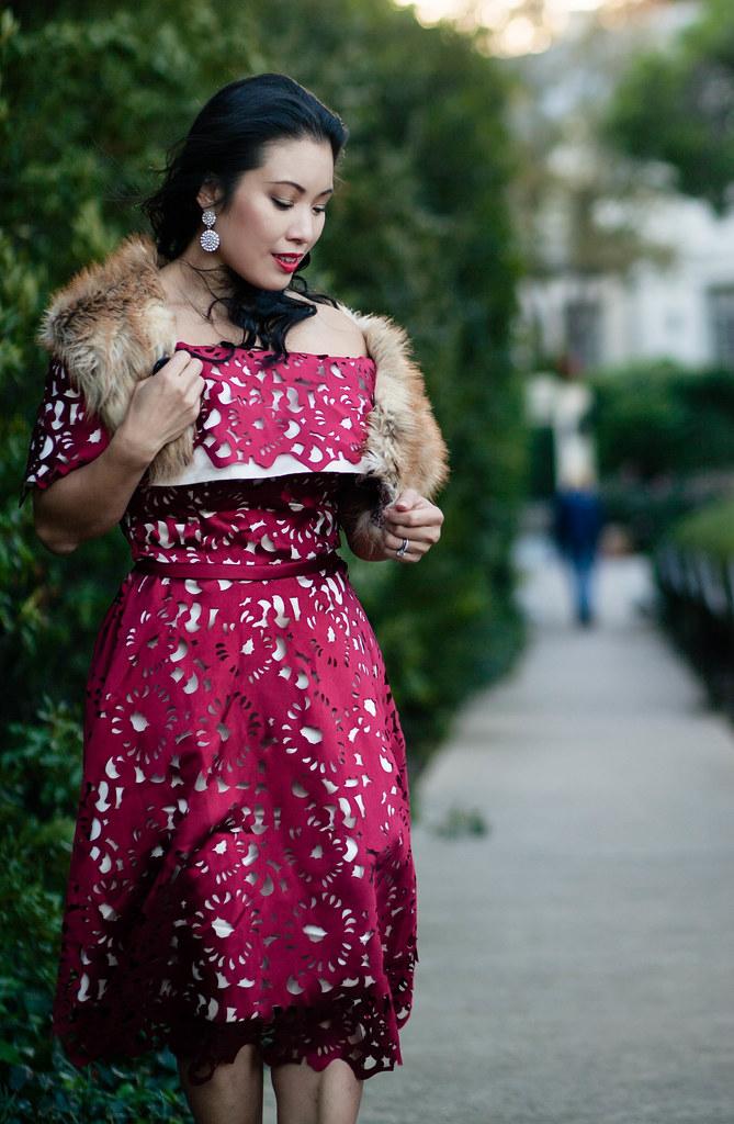 cute & little blog | petite fashion | fur stole, wine red laser-cut off shoulder dress, glitter pumps | winter holiday dress -Wine Red Holiday Dress by Dallas petite fashion blogger cute & little