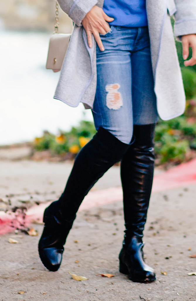cute & little blog | petite fashion | stuart weitzman 5050 look for less, pretty small shoes strom otk boots, gray cardigan, ag distressed jeans | fall outfit