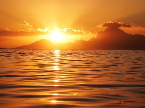 Sunset over Moorea - French Polynesia