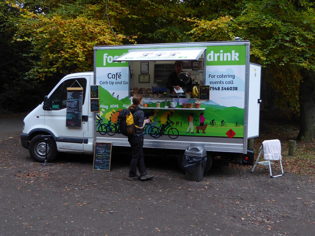Pop-up cafe in car park in paragraph 67 Guildford to Horsley walk