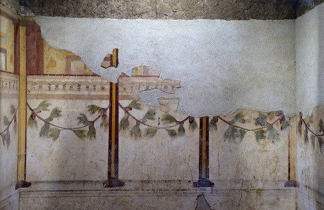 House of Augustus (Domus Augusti), room of the Pine Festoon, decoration with pilastered portico and pine festoons, 2nd Pompeian style, Palatine Hill, Rome