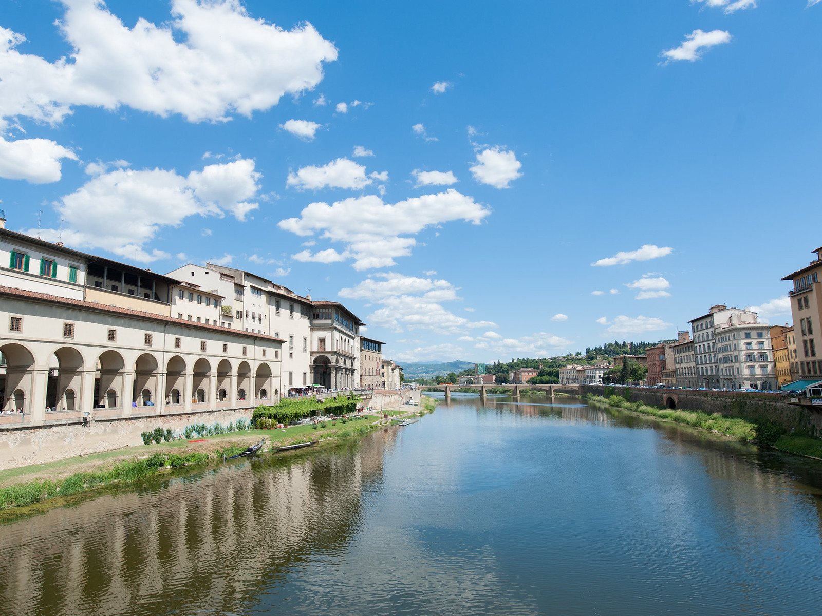 View of the river from Ponte Vecchio, Florence Italy