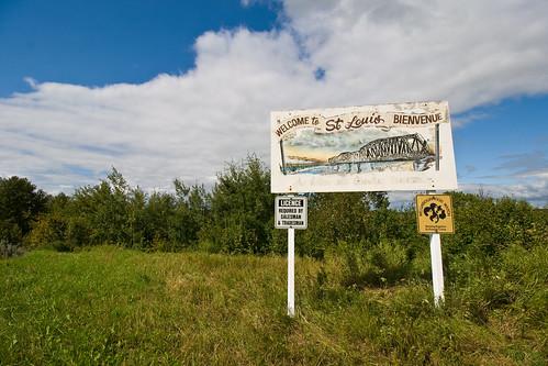 bridge sign town stlouis august saskatchewan 2015 fransaskois