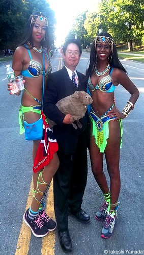 Dr. Takeshi Yamada and Seara (Coney Island sea rabbit) with the beautiful paraders at the West Indian American Day Parade (Labor Day Parade) at the Eastern Parkway in Crown Heights in Brooklyn, NY on September 7, 2015. 20150907 100_9776=1055s20pC all