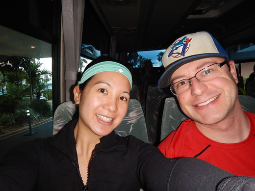 Mei and Dan selfie on the shuttle bus.