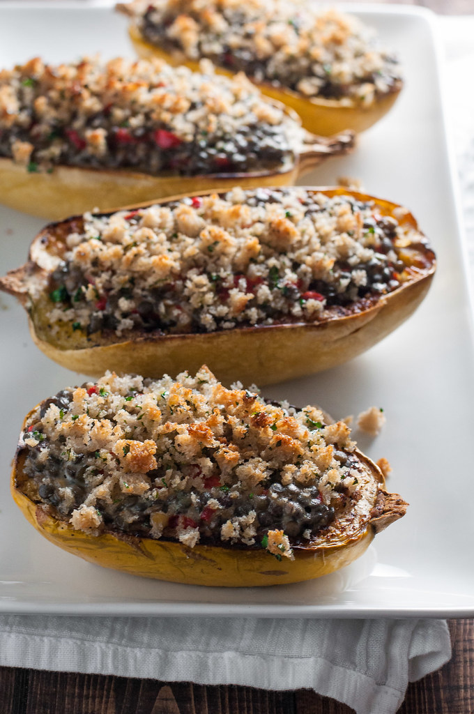 Three cheese lentils in spaghetti squash