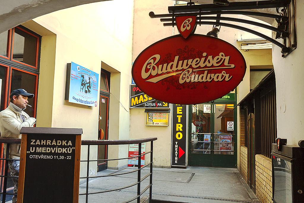 Budweiser Budwar sign--Prague