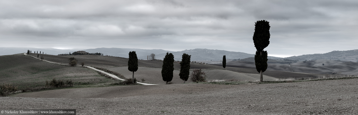 Panorama of fields and hills in Tuscany