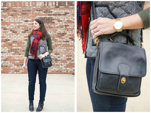 herringbone J.Crew vest, plaid scarf, green cashmere sweater; Style On Target fashion blog