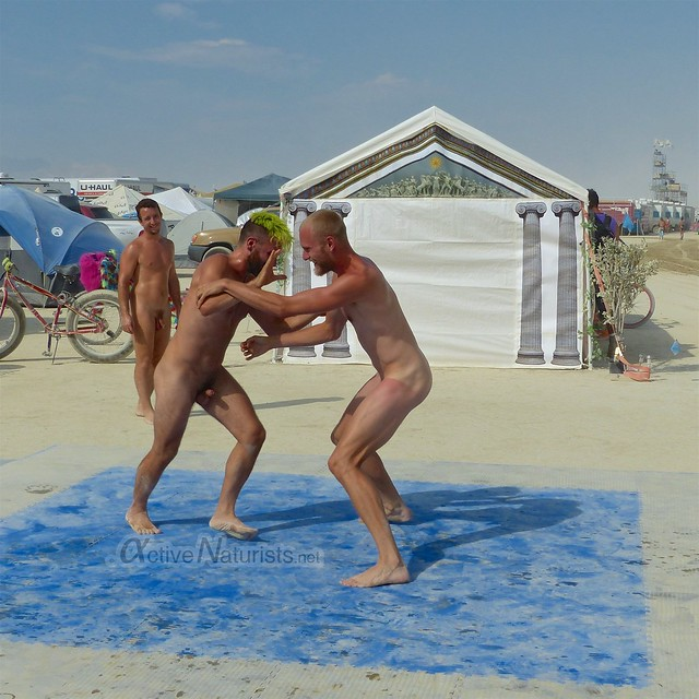 naturist wrestling camp Gymnasium 0003 Burning Man, Black Rock City, NV, USA
