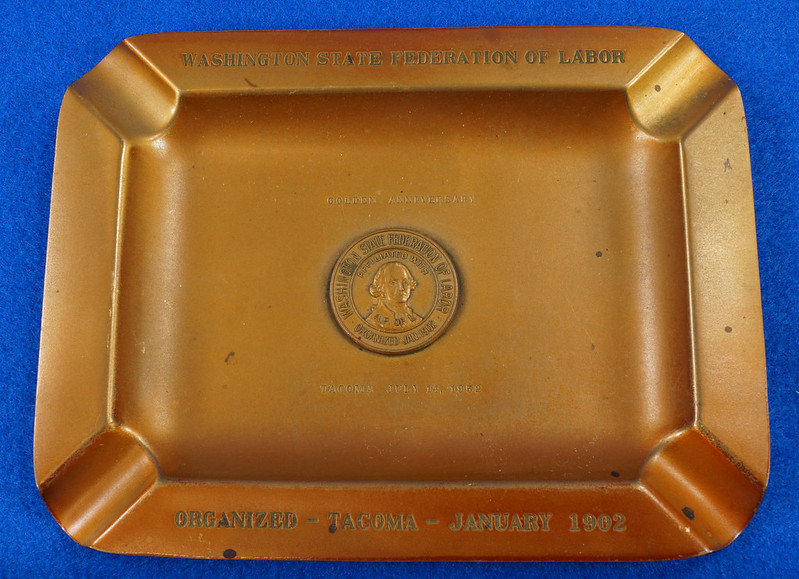 RD14480 1952 Brass Ashtray Washington State Federation of Labor Tacoma Union Made DSC06144