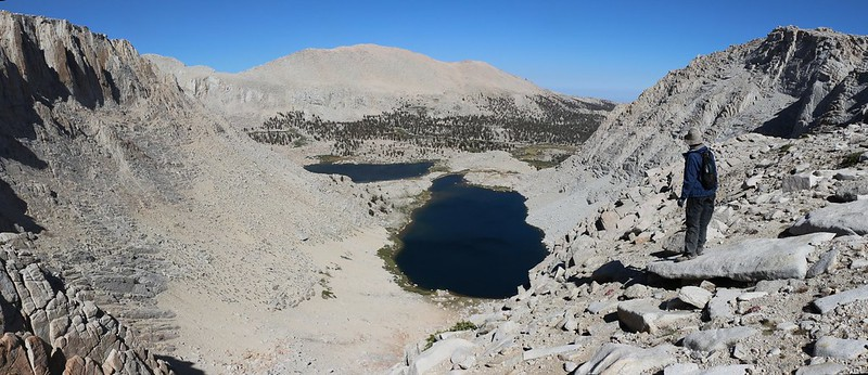 Panorama looking down at Cottonwood Lakes number 4 and 5 from the top of Old Army Pass