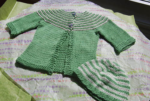 Handknit baby gift Gidday Baby Cardigan and beanie in Sirdar Baby Bamboo