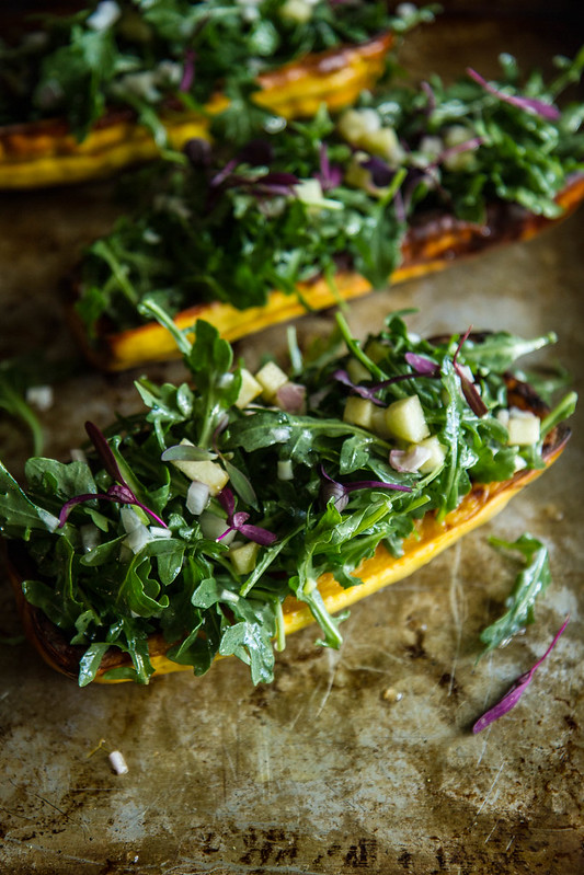 Roast Delicata Squash Bowls with Arugula Apple Salad