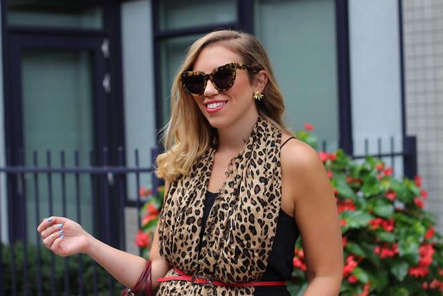 Leopard Scarf & LBD at #NYFW