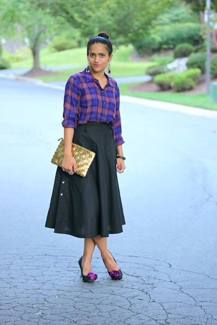 Shirt - Splendid Skirt - Fab India Shoes - Faith (London) Clutch - Gift Earrings - Asos Tanvii.com