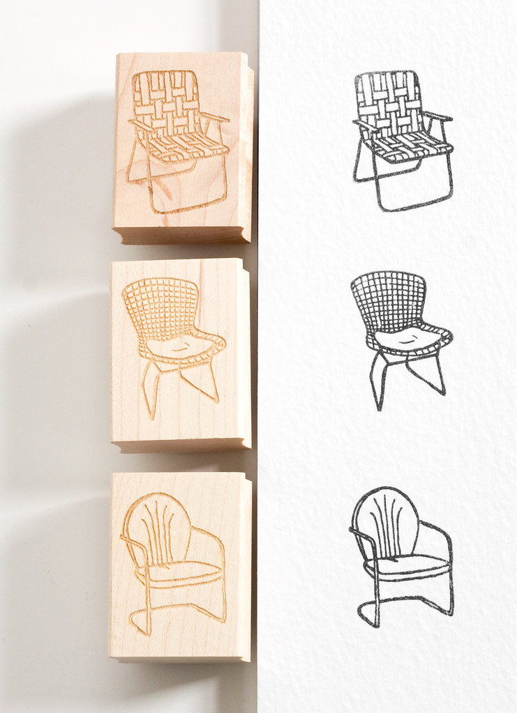 Retro Lawn Chair Rubber Stamps by Vitamini