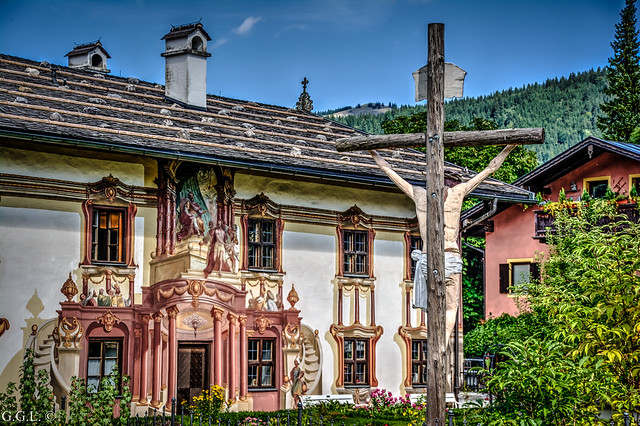 Oberammergau. Bayern. Die Passion Christi. HDR.