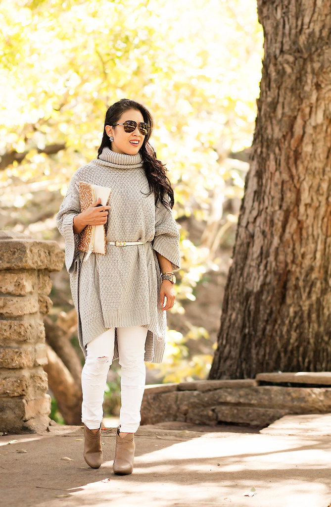 cute & little blog | petite fashion | gray knit belted poncho, white jeans, tan booties, clare v clutch | fall outfit