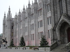 Marischal College, Broad Street, Aberdeen with Christmas trees