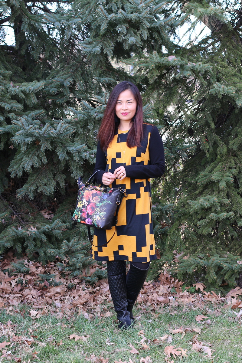 Thanksgiving-outfit-lattori-dress-quilted-boots-floral-bag-1