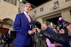U.S. Secretary of State John Kerry addresses reporters on November 24, 2015, following his meeting with Palestinian Authority President Mahmoud Abbas at the Muqata'a Presidential Compound in Ramallah, West Bank. [State Department photo/ Public Domain]