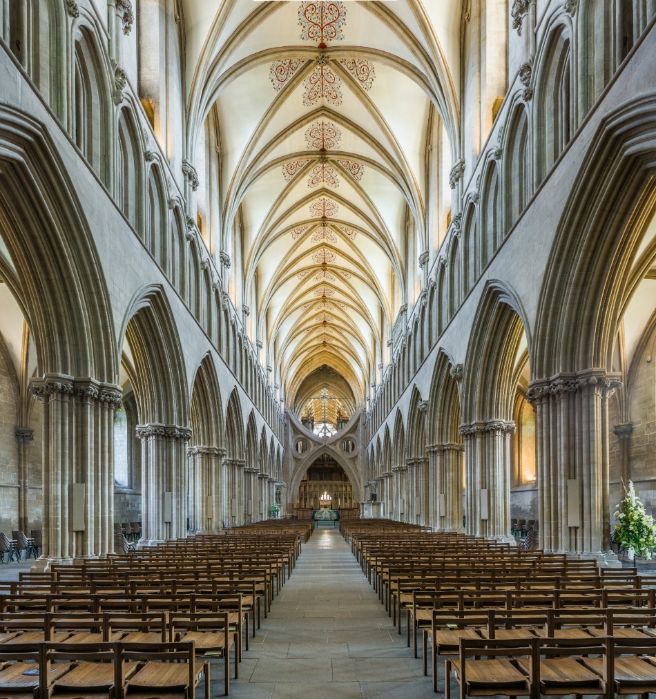 Wells Cathedral - The nave, viewed from the entrance. Credit: David Iliff