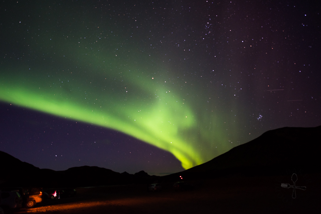 northern lights at landmannalaugar