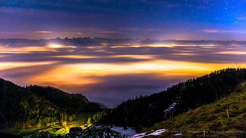 night nebel nacht jura alpen grenchen grenchenberg hochnebel wandfluh