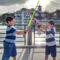 Light saber Practice in afternoon light.