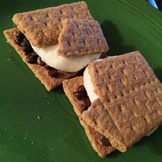 Latest guilty pleasure: S'mores!  *Nabisco Original Graham Crackers *@enjoylifefoods Chocolate Chips *Trader Joe's Marshmallows (yep, they're vegan!) *Pop in microwave for 15-20 seconds
