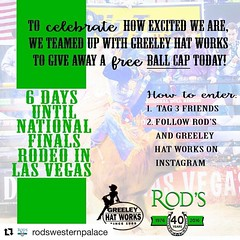 #Repost @rodswesternpalace That's right! In only 6 days, the National Finals Rodeo will be here and we couldn't be more excited. To help prepare, we are hosting a #12DaysofNFR countdown till the big event- today we teamed up with Greeley Hat Works to give
