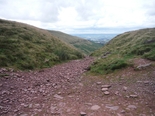 'Old Roman Road' in saddle between Cribyn and Fan y Big