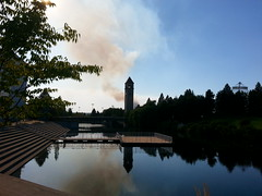 smoke from small fire just west of Spokane, WA