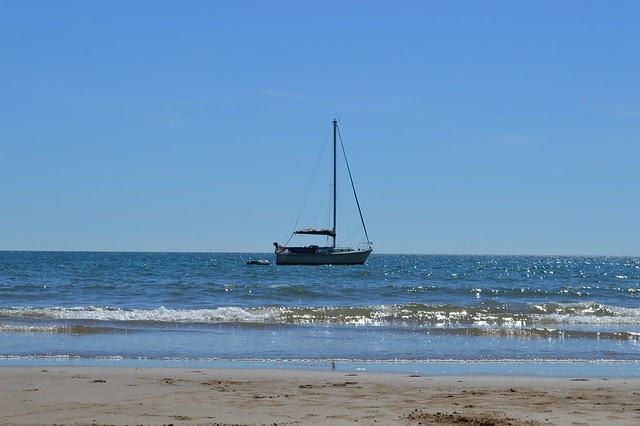 photo of a boat in the sea near Tenby